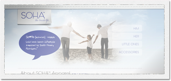 SOHA the beach life - website design by Not Another Cliche
